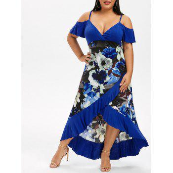 Plus Size Open Shoulder Color Block Flounce Dress