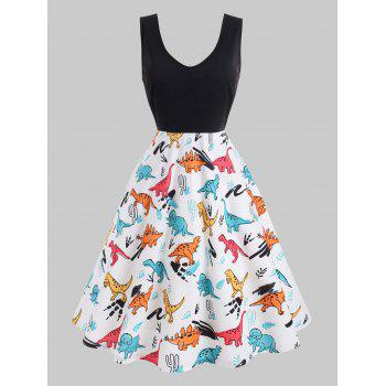 Plus Size Dinosaur Print Pin Up Dress