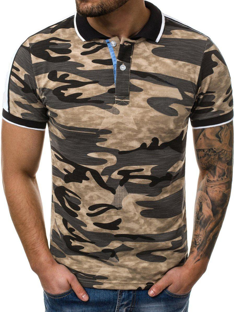 Camouflage Print Shirt Collar T Shirt - YELLOW L