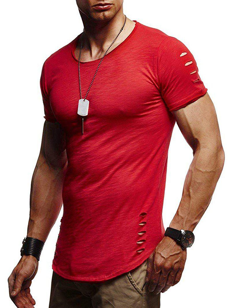 Ripped Holes Short Sleeve T Shirt - RED S