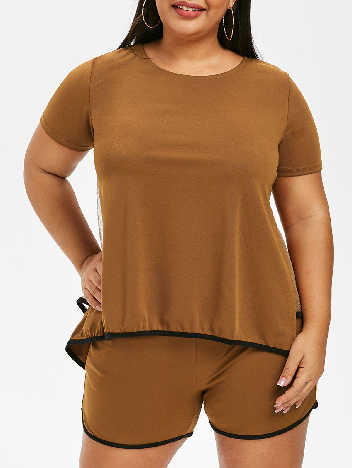 41 Off 2020 Plus Size High Low Layered T Shirt With Shorts In Brown Dresslily