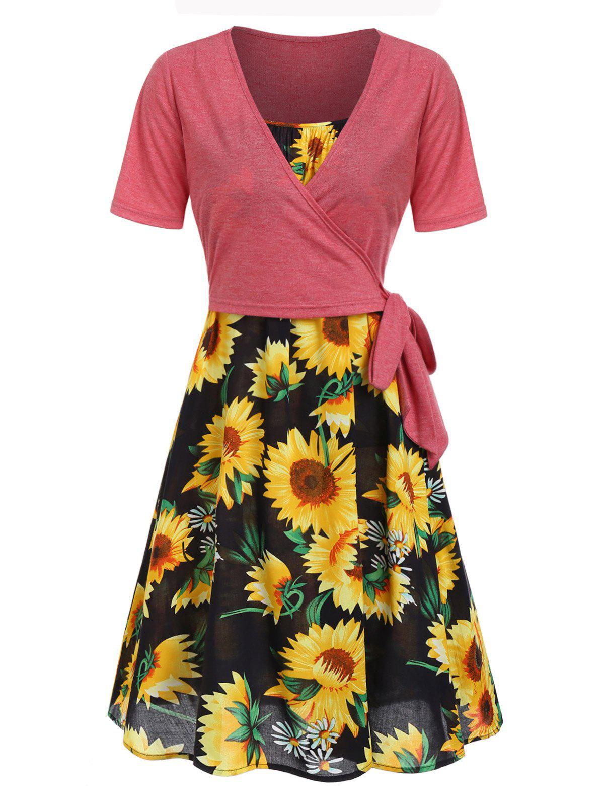 Cami Sunflower Dress and Wrap T-shirt Set - BLACK S