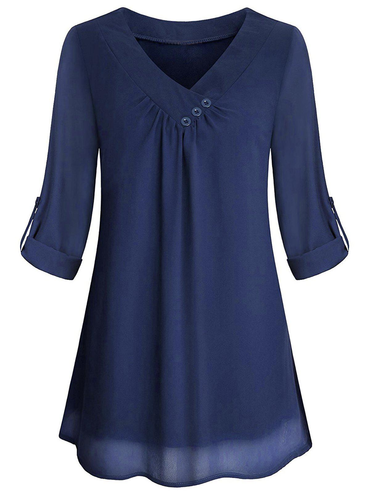 Cuffed Sleeves Buttons Solid Blouse - COBALT BLUE XL