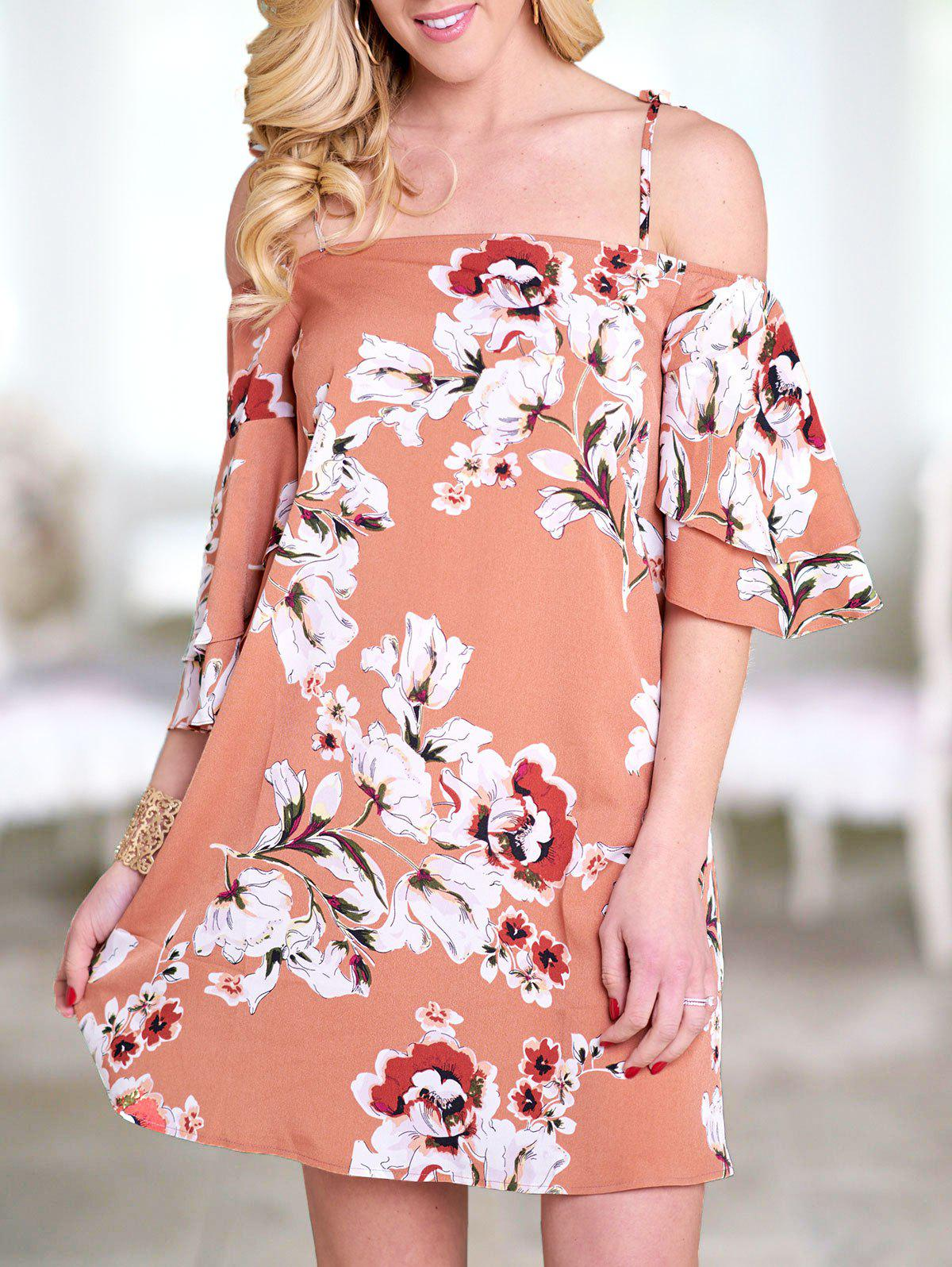 Floral Flare Sleeve Self Tie Tunic Dress - multicolor S