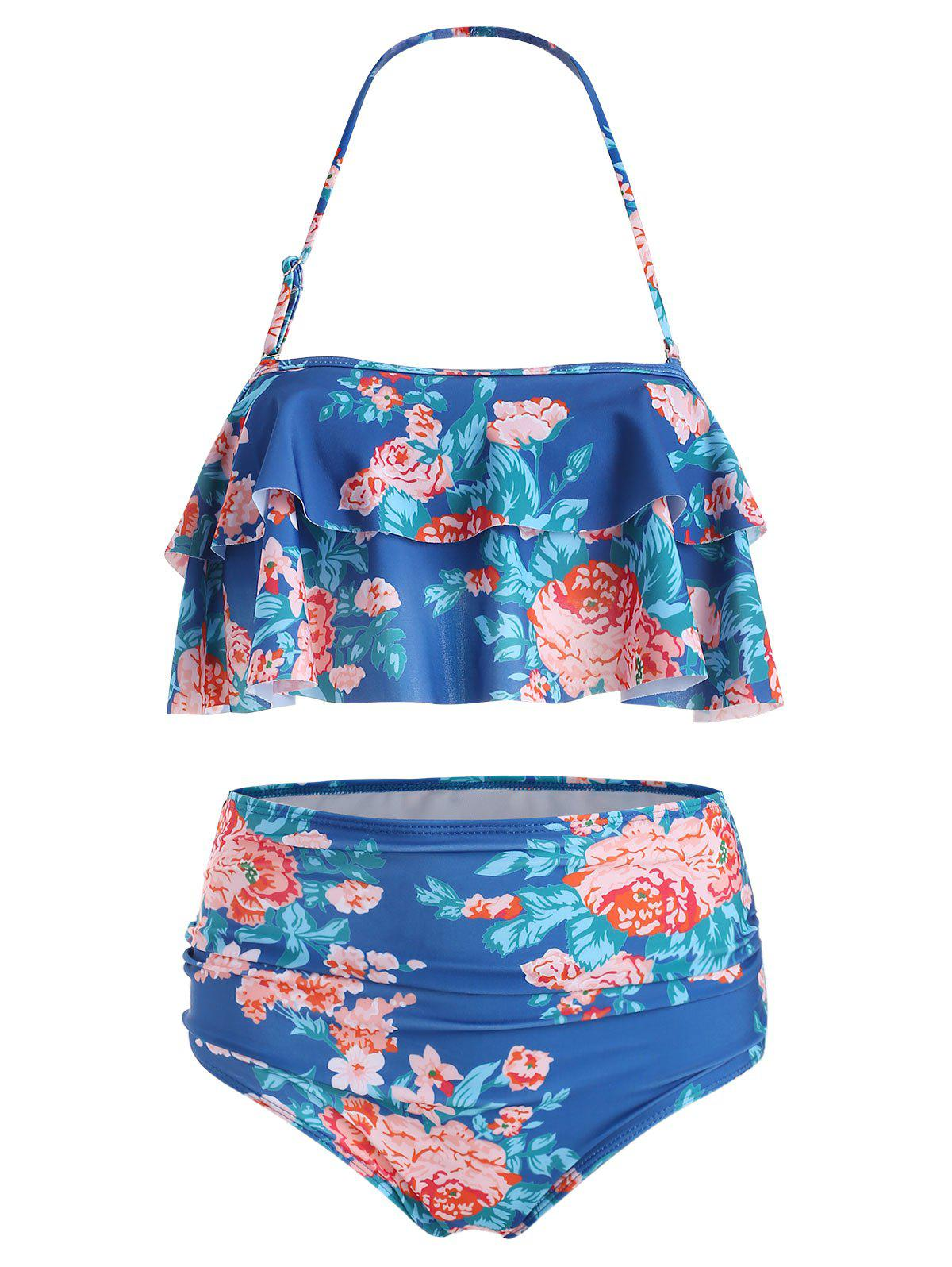 Floral Flounce High Waisted Bikini Set - LAPIS BLUE L