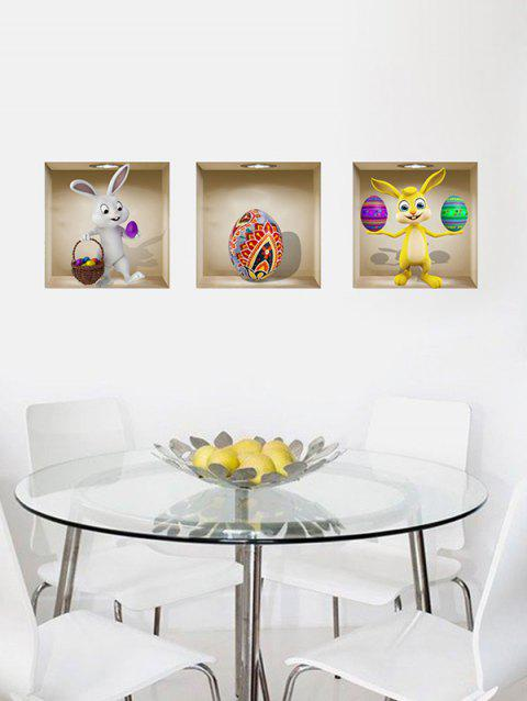 3D Easter Eggs Rabbit Pattern Wall Stickers - multicolor