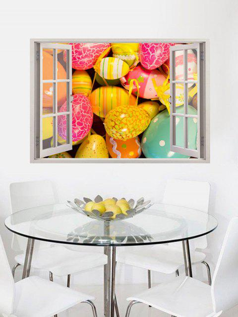 Simulation Window Easter Eggs Pattern Wall Stickers - multicolor