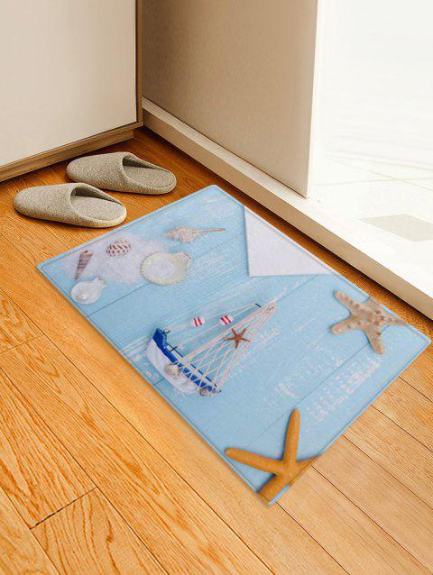 Shell Starfish Pattern Print Floor Mat - multicolor A W16 X L24 INCH