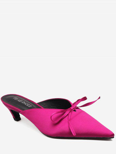 Pointed Toe Bow Mid Heel Slides - ROSE RED EU 39