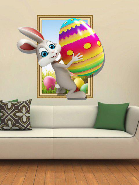 Easter Rabbit Egg Pattern 3D Wall Stickers - multicolor