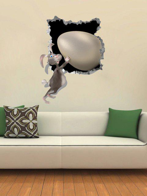 3D Easter Rabbit Egg Pattern Wall Stickers - multicolor