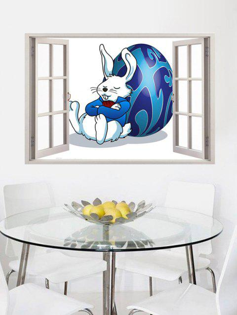 Simulation Window Easter Rabbit Egg Pattern Wall Stickers - multicolor