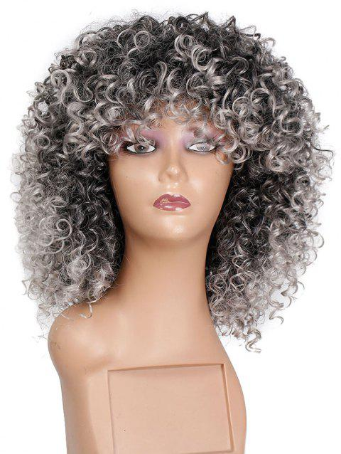 Jerry Curly Medium Synthetic Wig - multicolor