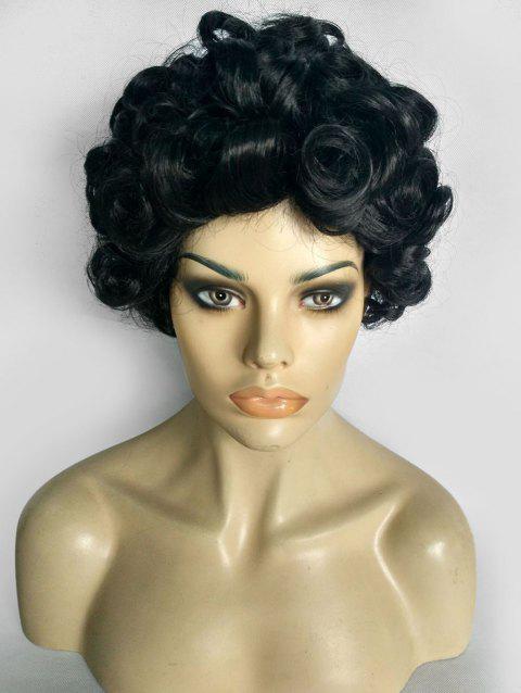 Curly Short Fluffy Synthetic Wig - BLACK