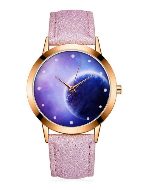 3D Mirror Lunar PU Quartz Watch - PINK