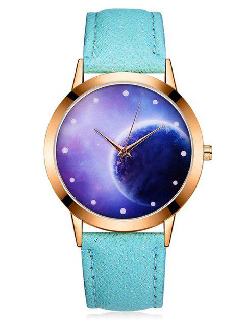 3D Mirror Lunar PU Quartz Watch - SKY BLUE