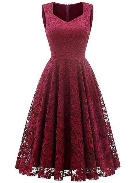Sweetheart Sleeveless Lace Overlay Dress - Rouge Vineux 2XL
