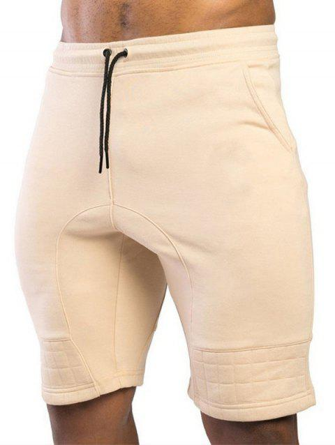 Two Tone Patch Casual Shorts - YELLOW L