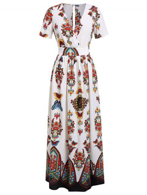 0da24cc38bc4dd 27% OFF  2019 Plus Size Printed Maxi Split Dress In WARM WHITE 1X ...