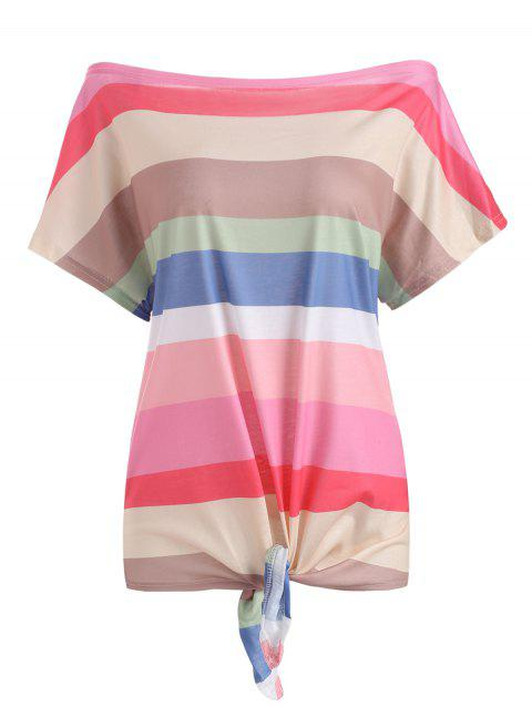 Colorful Striped Off Shoulder Tie Hem T-shirt - multicolor A M
