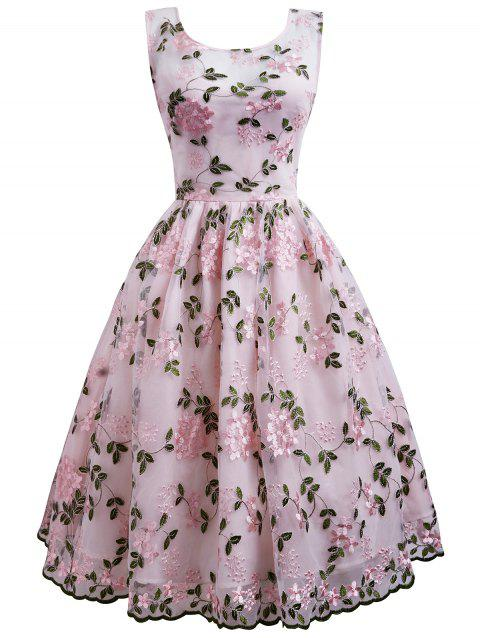 Flower Embroidered Sleeveless Party Dress - multicolor XL