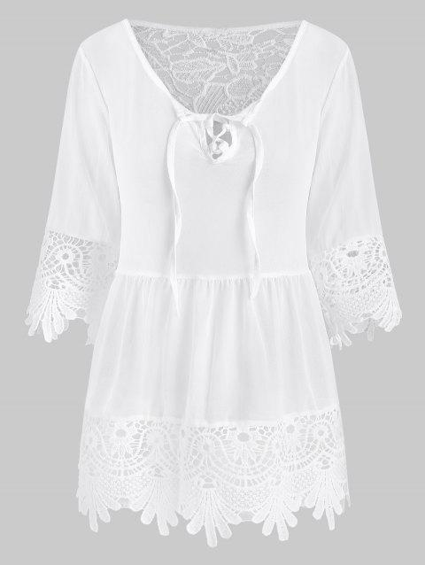 Lace-up Crochet Panel See Thru Blouse - WHITE XL