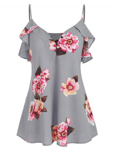 Spaghetti Strap Flower Ruffled Top - GRAY L