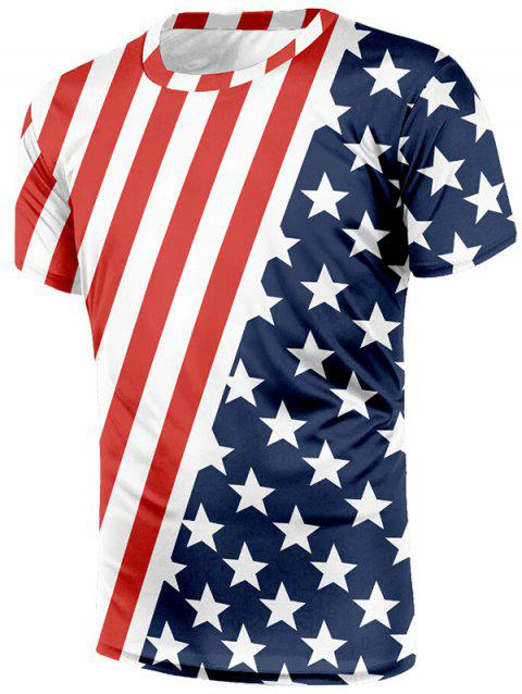 American Flag Print Short Sleeves T-shirt - multicolor L