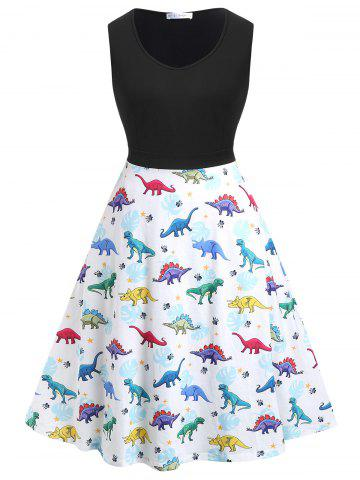 21f66bb7c86 Plus Size Dinosaur Print Fit and Flare Dress