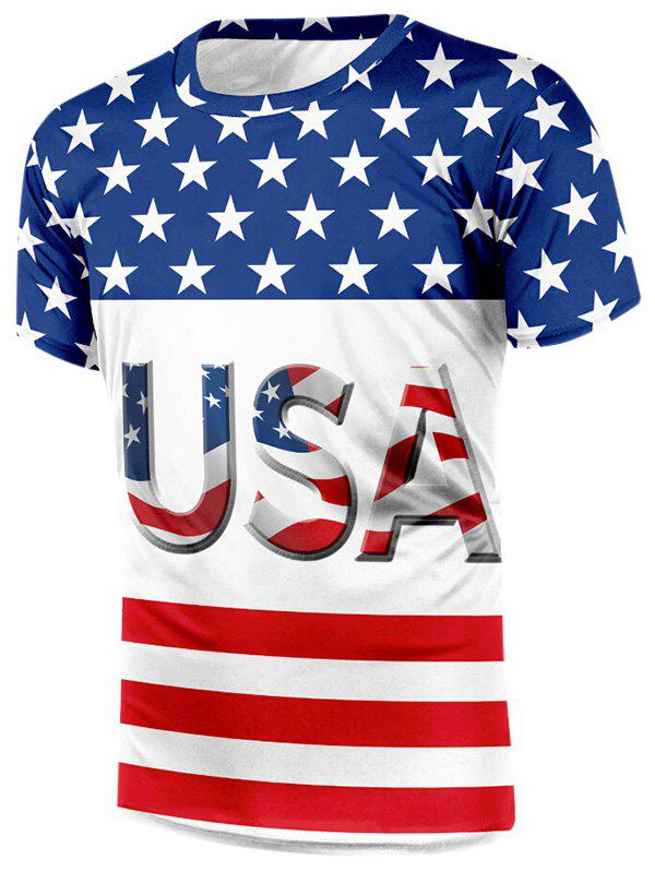 American Flag Letter Print Casual T-shirt - multicolor S