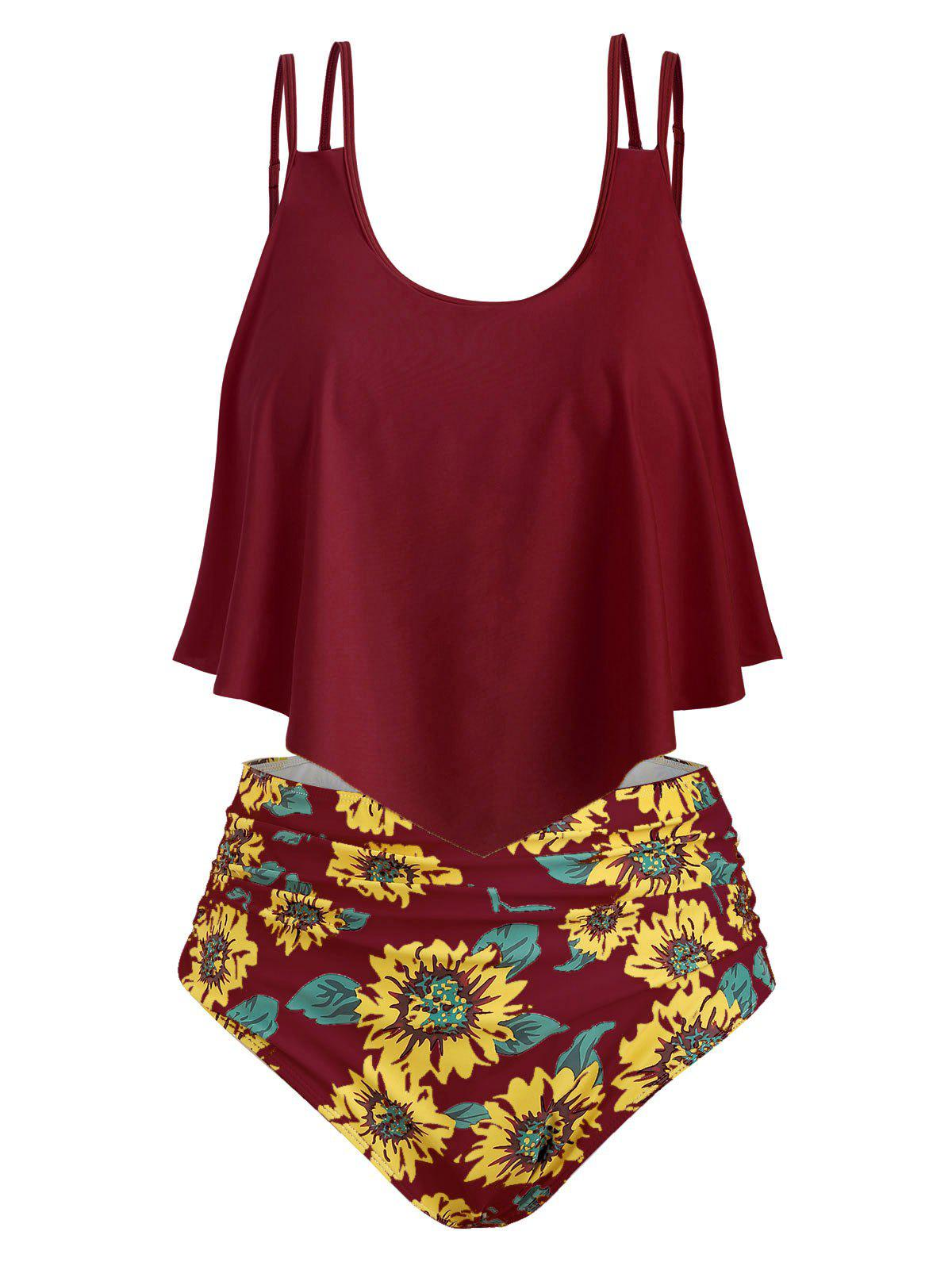 Sunflower Contrast Overlay Plus Size Tankini Set - RED WINE 1X