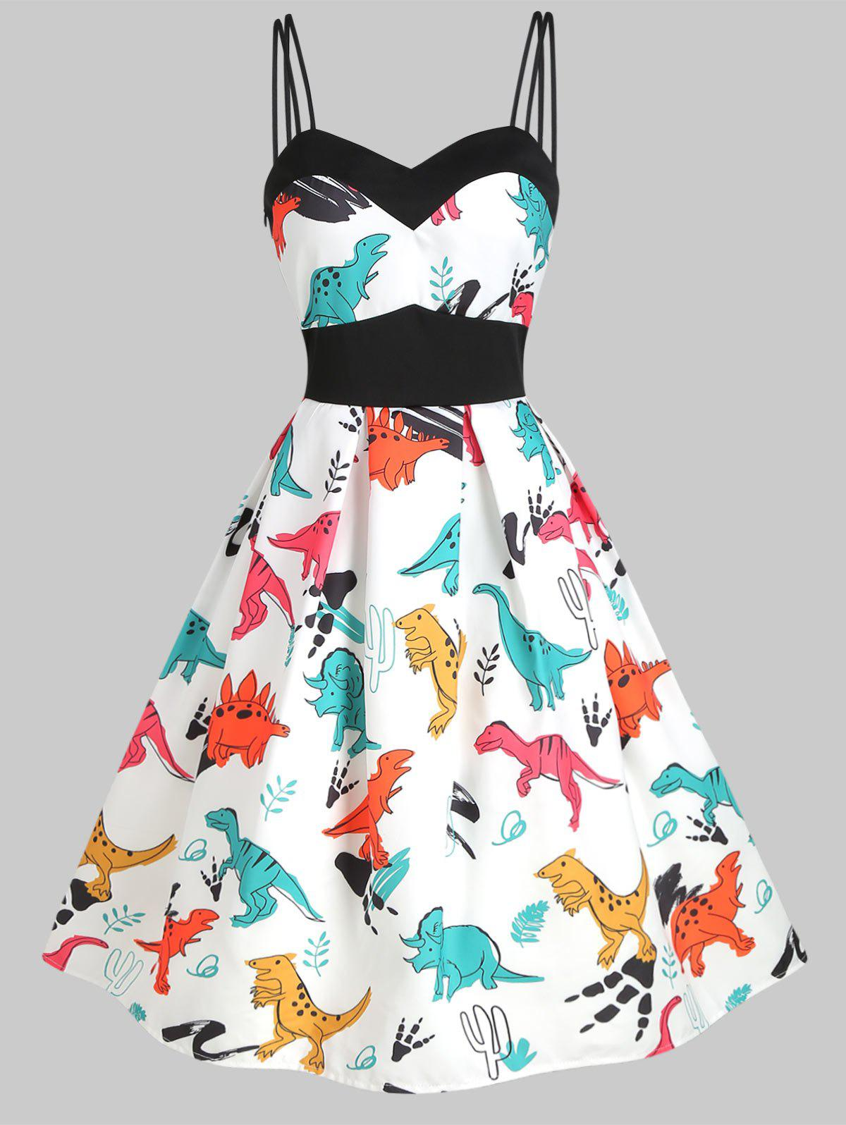 Dinosaur Print Dual Strap Dress - WHITE XL