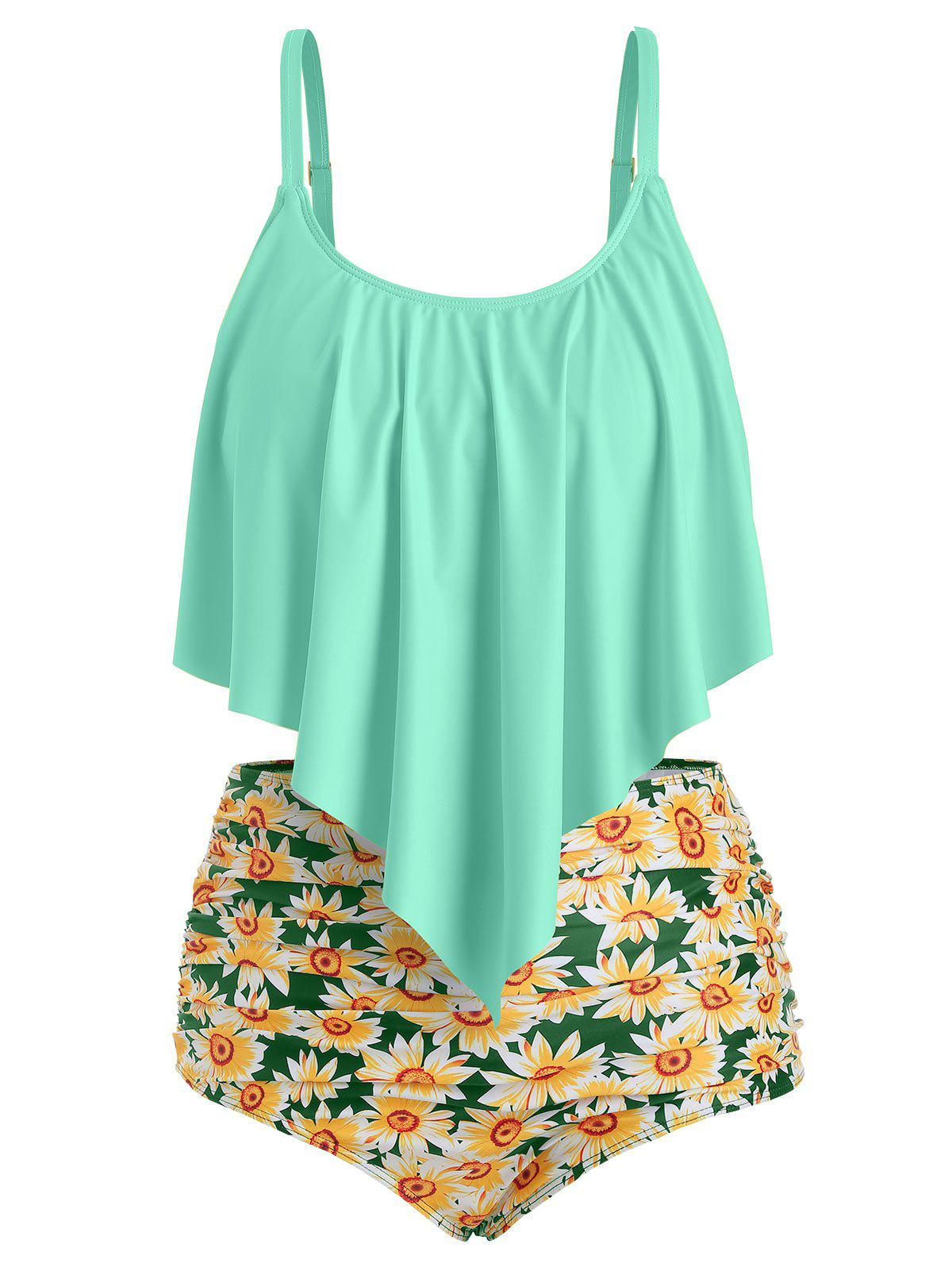 Plus Size Ruffled Sunflower Print Bikini Set - AQUAMARINE 3X