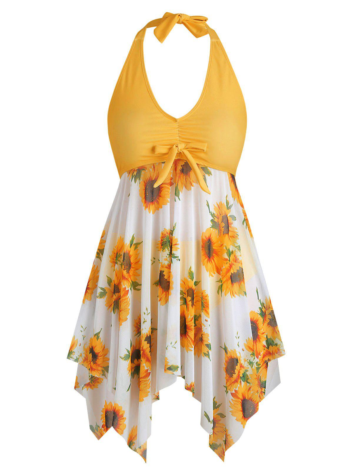 Bowknot Sunflower Floral Butterfly Plus Size Tankini Set - BEE YELLOW 3X