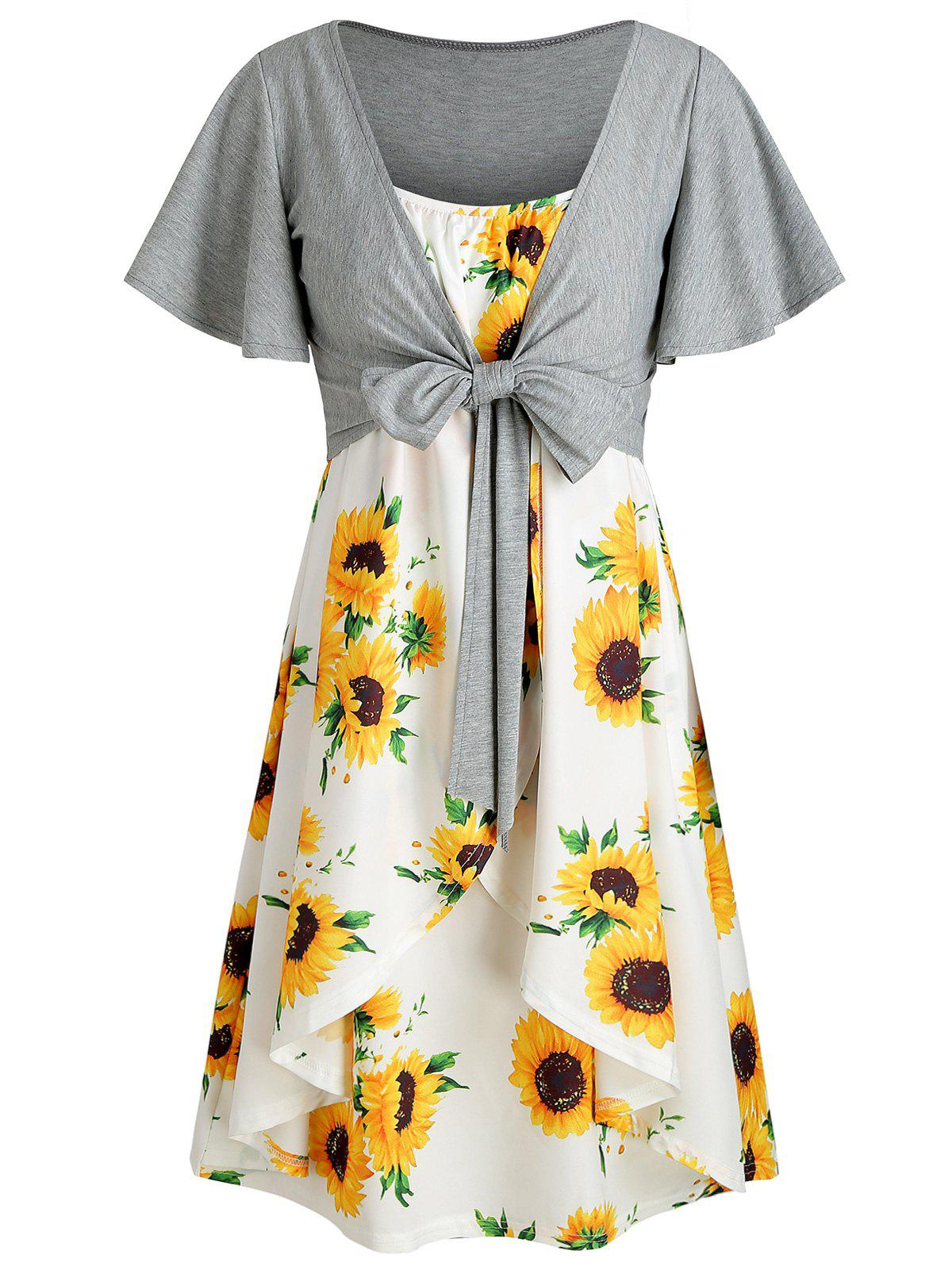 Knotted Top and Sunflower Cami Dress Set - WHITE L