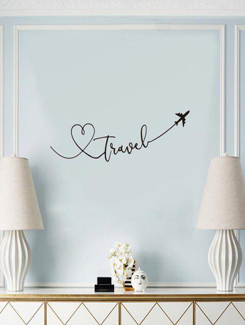 Love Heart Plane Pattern Wall Stickers - BLACK