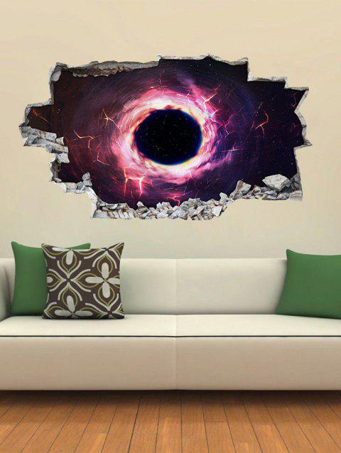 3D Broken Black Hole Pattern Wall Stickers - multicolor