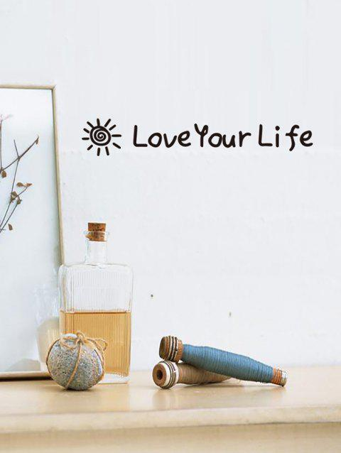 Love Your Life Pattern Wall Stickers - BLACK
