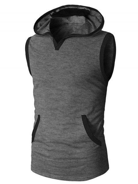 Pocket Decoration Hooded Tank Top - GRAY XL