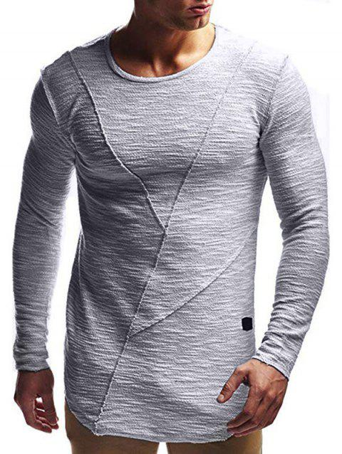 Solid Color Design Long Sleeves T-shirt - GRAY GOOSE M
