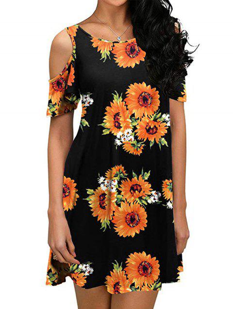 Floral Cold Shoulder Pocket Tunic Dress - multicolor B L