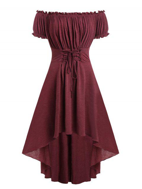 Plus Size Off The Shoulder Lace Up High Low Dress - RED WINE 5X