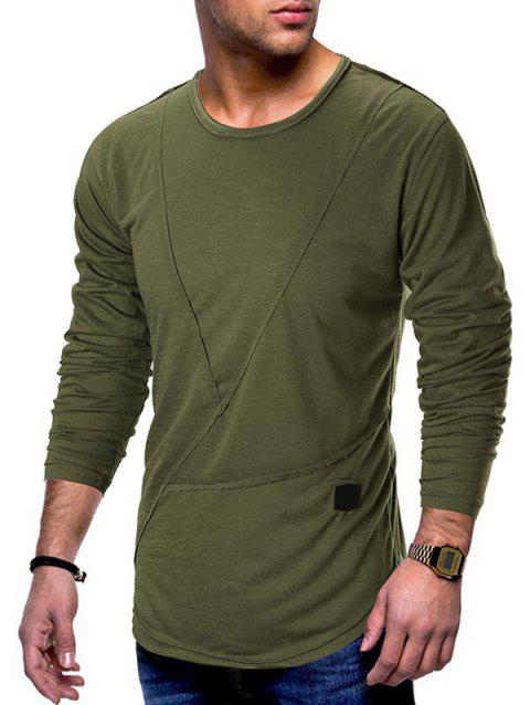 Applique Patchwork Curved Hem T-shirt - ARMY GREEN M