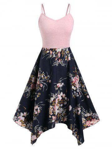 6b4b3d12d830 Plus Size Spaghetti Strap Handkerchief Floral Dress