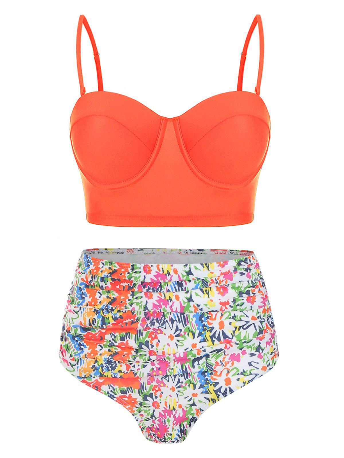 Floral Cami Tummy Control Bikini Set - PUMPKIN ORANGE L