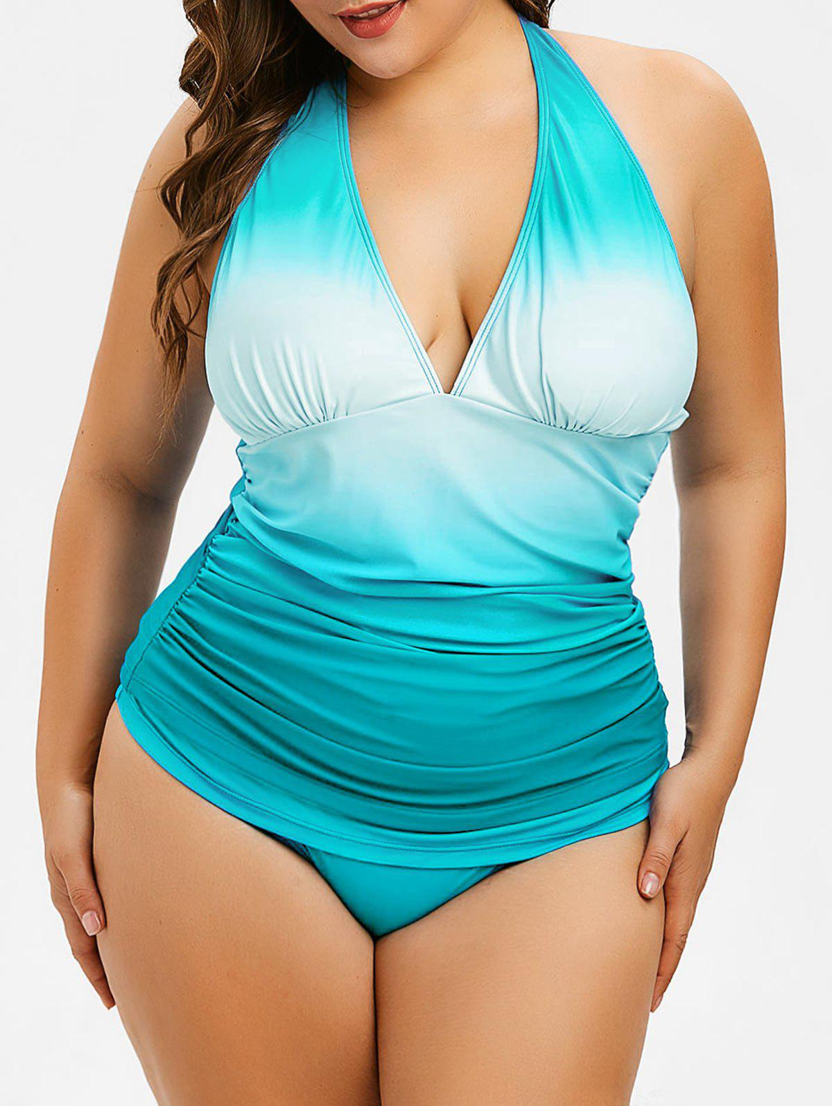 Plus Size Ombre Hater Neck Tankini Set - MACAW BLUE GREEN 4X