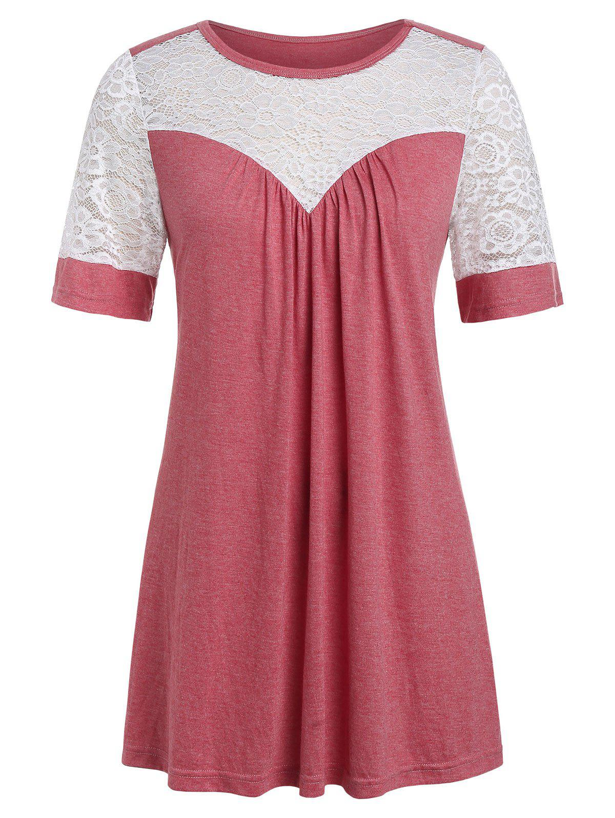 Plus Size Lace Insert Two Tone T Shirt - CHERRY RED L