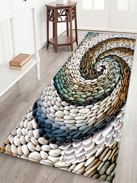 Stone Vortex Pattern Flannel Water Absorption Area Rug - WHITE W16 X L47 INCH