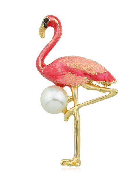 Faux Pearl Flamingo Personality Brooch - LAVA RED