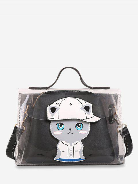 Ensemble de Sac à Main Transparent Motif de Chat - Noir